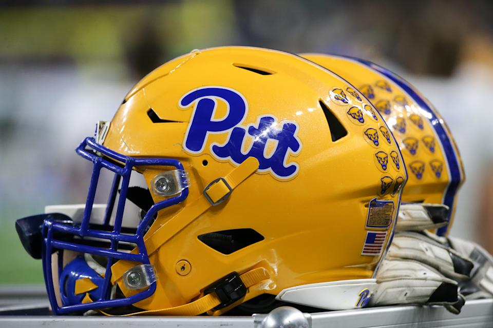 DETROIT, MI - DECEMBER 26:  A general view of Pitt helmets is seen during the Quick Lane Bowl game between the Pitt Panthers and the Eastern Michigan Eagles on December 26, 2019 at Ford Field in Detroit, Michigan.  (Photo by Scott W. Grau/Icon Sportswire via Getty Images)