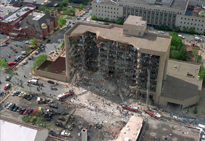 The north side of the Alfred P. Murrah Federal Building in Oklahoma City is pictured after an explosion that killed 168 people and injured hundreds on April 19, 1995. (AP)