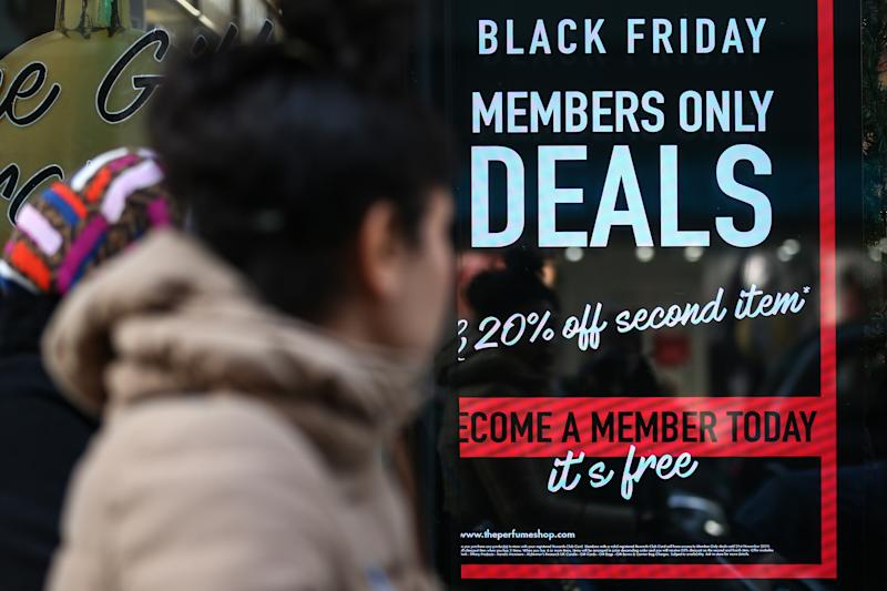 LONDON, ENGLAND - NOVEMBER 20: A Superdrug store advertises ahead of the Black Friday sales on November 20, 2019 in London, England. (Photo by Hollie Adams/Getty Images)