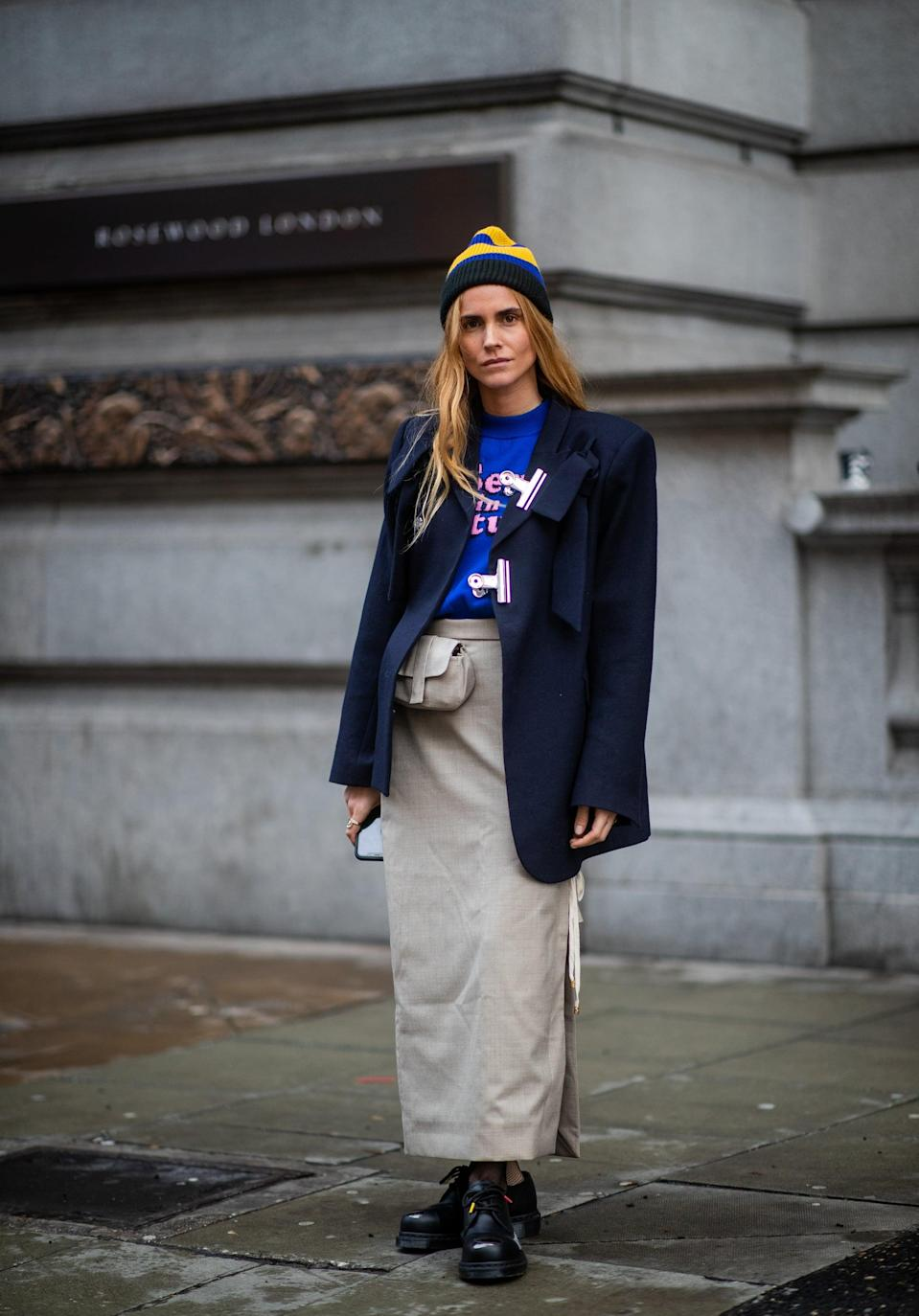<p>If the rest of your outfit is relatively understated – think tailored separates - a beanie in a bright color or fun print can be a simple way to add a little personality to your overall look. </p>