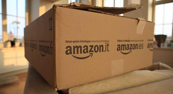 Amazon delivery to the home. Large Amazon box in lounge showing the ease of internet shopping from online retailers