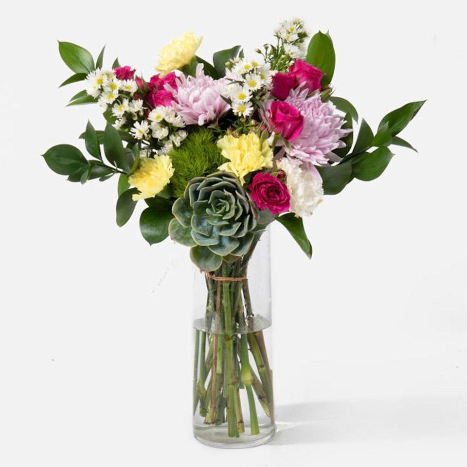 """UrbanStems' picture-perfect arrangements need no introduction. The brand is known for its beautiful bouquets, and you can find <a href=""""https://cna.st/affiliate-link/EmXFUGnvenRko5bhCf611Dou7xh2GUuTQhqjyXcqCtTZHyQsFMz33GEE7CQrcATwAyiuRsKAREUZHrnRx7phrg?cid=5ea1a2fa1120370008544eb0"""" rel=""""nofollow noopener"""" target=""""_blank"""" data-ylk=""""slk:themed selections"""" class=""""link rapid-noclick-resp"""">themed selections</a> and <a href=""""https://cna.st/affiliate-link/4R1mmfmYGfCChJ8CwSwszdbn4ZhaMYXitXfCGCeoNP6VNQcmqGFLiXLqnfCEhG8puJko8VH2XipaiEyUVM3phTq5HE8Thwk6p4EE?cid=5ea1a2fa1120370008544eb0"""" rel=""""nofollow noopener"""" target=""""_blank"""" data-ylk=""""slk:plant gift sets"""" class=""""link rapid-noclick-resp"""">plant gift sets</a> year-round. Best part? You can search by delivery date to know for sure that your gift will arrive on time. We love the Eden bouquet pictured, but we're also eyeing <a href=""""https://cna.st/affiliate-link/vk6RbnasjRnUhuHUZaVtRiRCerjP8EUEjLjkbCep83nhGVRcpCfoaEqQsjVcf4X8ZuaNEDBKWTS1zfdH8XSUDQHZE4fVGw1jUvJMpWVSC3B4xQW6Z9jepHRgGGxfgFiK?cid=5ea1a2fa1120370008544eb0"""" rel=""""nofollow noopener"""" target=""""_blank"""" data-ylk=""""slk:this toothy succulent"""" class=""""link rapid-noclick-resp"""">this toothy succulent</a> and this <a href=""""https://cna.st/affiliate-link/74gALtHrcLQ8SvMqvBGFPocD5XxxH65dg4Ai1upFDrmHo3C9YXXYPT2i8w1AbYgs22rxp7F5o2v3vUonoMmoJF3eB6dwg8bq8LtzoXsrNqLKX8tjyXeij9VjjRMSzesMzoLEr7?cid=5ea1a2fa1120370008544eb0"""" rel=""""nofollow noopener"""" target=""""_blank"""" data-ylk=""""slk:all-tulip"""" class=""""link rapid-noclick-resp"""">all-tulip</a> option. $55, The Eden. <a href=""""https://urbanstems.com/products/flowers/the-eden/FLRL-B-00318.html"""" rel=""""nofollow noopener"""" target=""""_blank"""" data-ylk=""""slk:Get it now!"""" class=""""link rapid-noclick-resp"""">Get it now!</a>"""