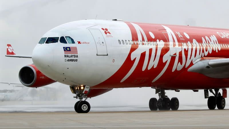FILE PHOTO: File photo of an AirAsia X Airbus passenger jet arriving at Orly airport near Paris