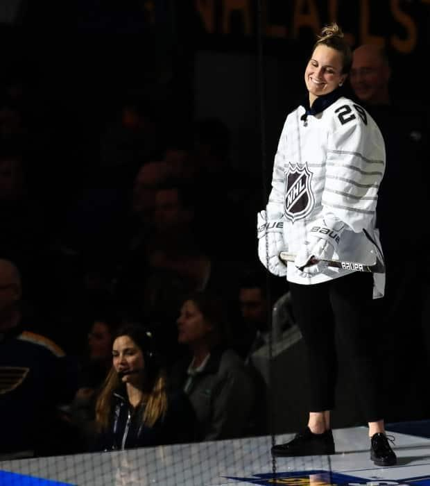 Jan 24, 2020; St. Louis, Missouri, USA; Canadian All Stars forward Marie-Philip Poulin (29) reacts after shooting the puck during the shooting stars competition in the 2020 NHL All Star Game Skills Competition at Enterprise Center. Mandatory Credit: Aaron Doster-USA TODAY Sports (USA TODAY Sports - image credit)