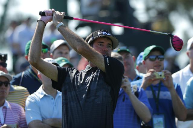 Bubba Watson of the U.S. hits off the third tee during the second day of practice for the 2018 Masters golf tournament at Augusta National Golf Club in Augusta, Georgia, U.S. April 3, 2018. REUTERS/Brian Snyder