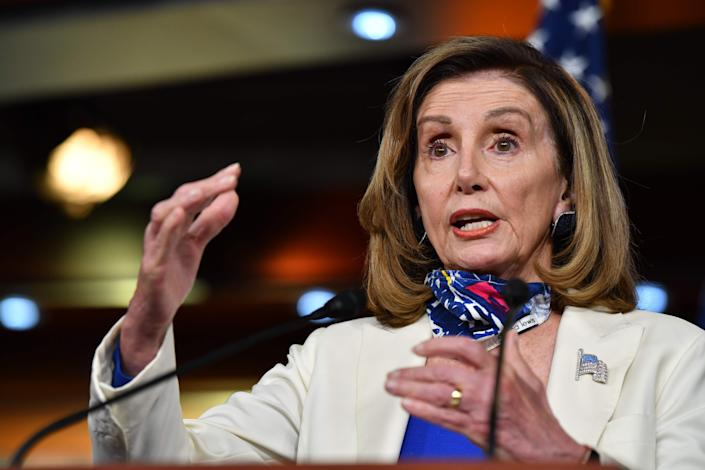 House Speaker Nancy Pelosi, D-Calif., holds her weekly press briefing on Capitol Hill on Thursday.