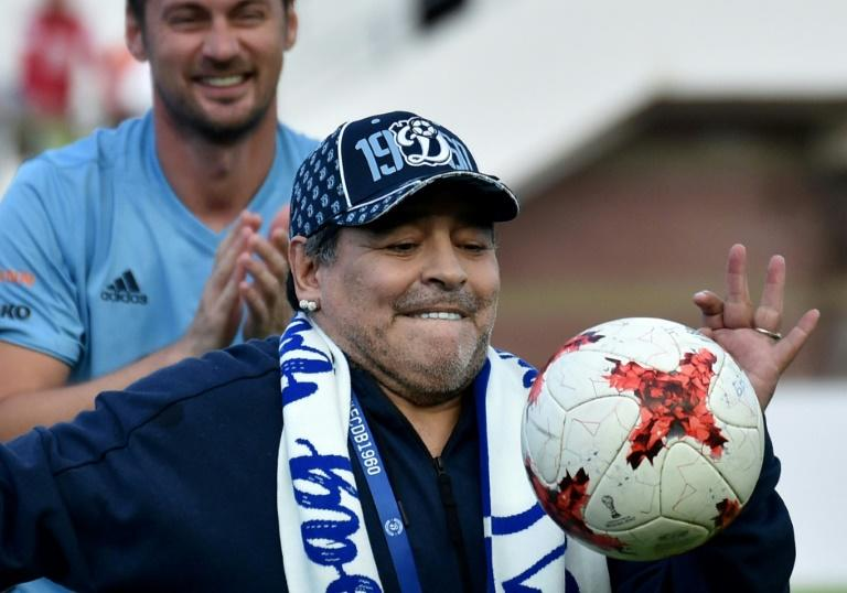 Diego Maradona is also acting as honorary poresident of Dinamo Brest, who unveiled him to their fans in July