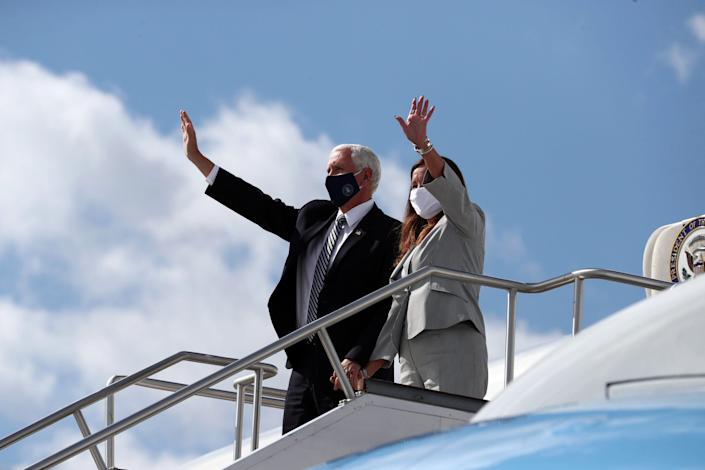 Vice President Mike Pence and second lady Karen Pence disembark Air Force II at the Indianapolis International Airport in July ahead of a meeting with education leaders about safely reopening schools amid the coronavirus pandemic.