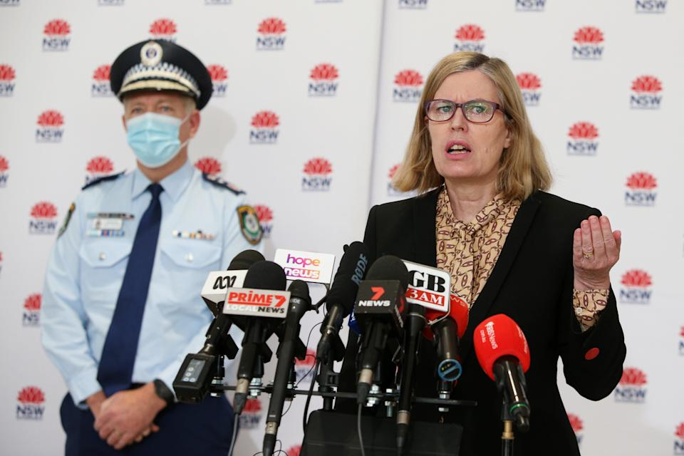 NSW Chief Health Officer Dr Kerry Chant takes questions during a Covid-19 press conference on Friday (Getty Images)