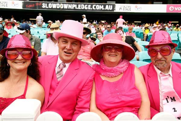 SYDNEY, AUSTRALIA - JANUARY 05:  Fans dress completely in pink during day three of the Second Test Match between Australia and India at Sydney Cricket Ground on January 5, 2012 in Sydney, Australia.  (Photo by Mark Metcalfe/Getty Images)