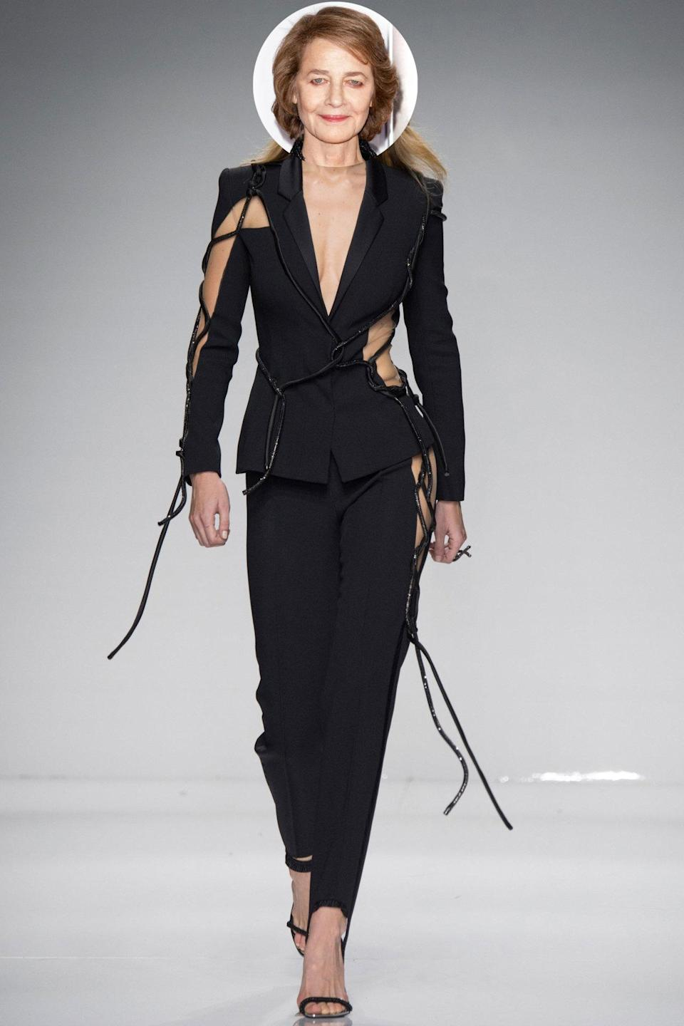 <p>She doesn't generally bare this much skin, but we'd love to see the 70-year-old nominee arrive in something timeless and daring like this Versace suit.</p>