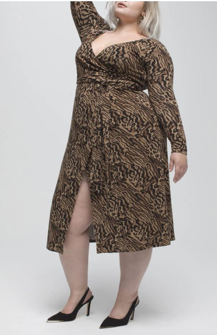 <p>This sultry and empowering <span>Good American Animal Print Long Sleeve Wrap Dress</span> ($52, originally $129) is a great choice for many occasions.</p>
