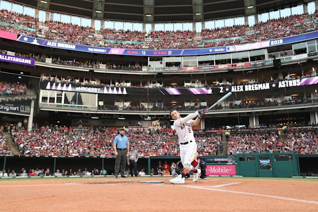 Alex Bregman of the Houston Astros competes in the T-Mobile Home Run Derby at Progressive Field on July 08, 2019 in Cleveland, Ohio. (Photo by Gregory Shamus/Getty Images)