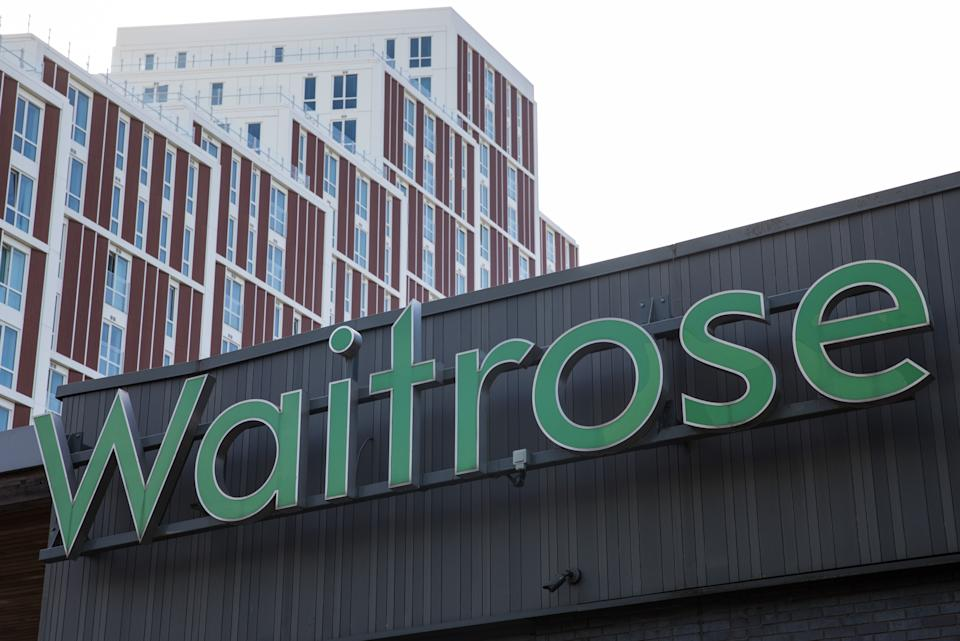 A Waitrose sign is pictured on 18 September 2020 in Bracknell, United Kingdom. Waitroses headquarters and a distribution centre are located in Bracknell, as well as a store in The Lexicon shopping centre. (photo by Mark Kerrison/In Pictures via Getty Images)