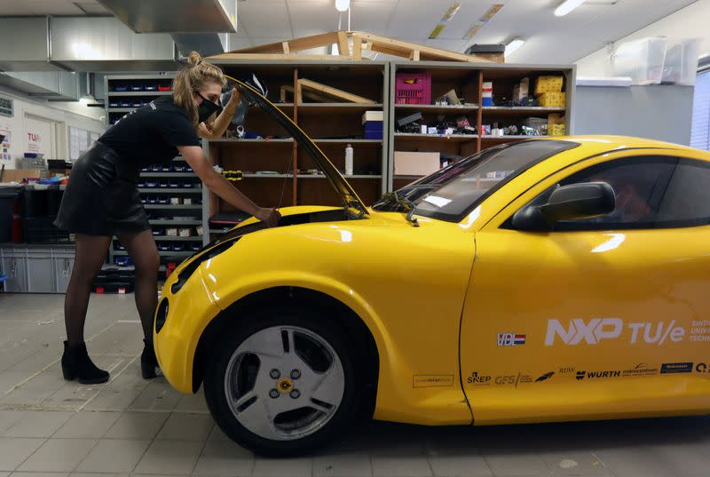 Students of Eindhoven University of Technology have created a car named Luca from recycled waste in Eindhoven