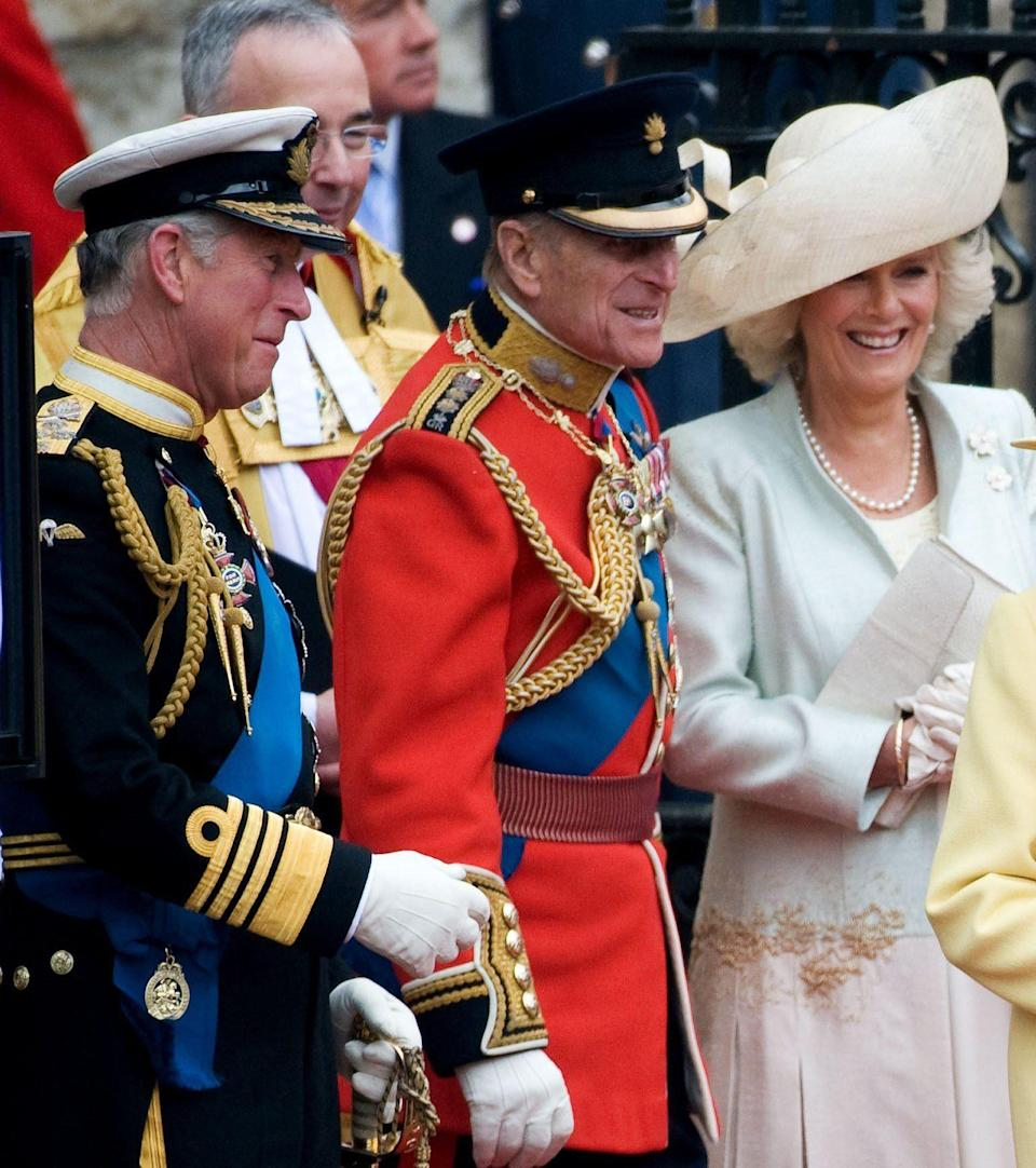 Philip with Charles and Camilla, the Duchess of Cornwall, at the Duke and Duchess of Cambridge's wedding in 2011 - @RoyalFamily