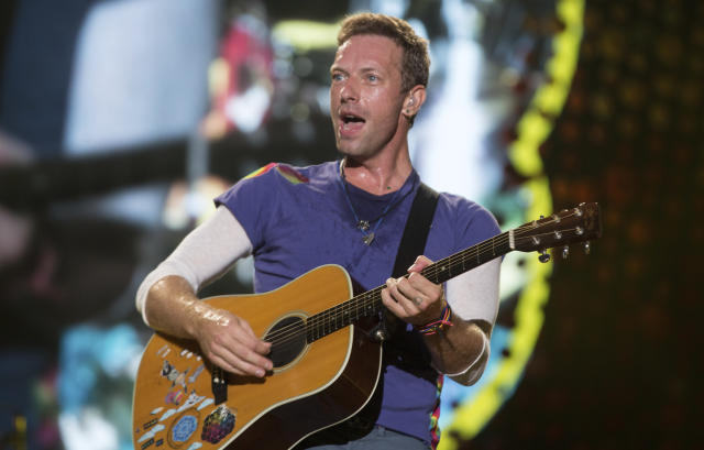 Chris Martin of Coldplay performs during the 'A Head Full Of Dreams' Tour 2017. (Santiago Bluguermann/Getty Images)