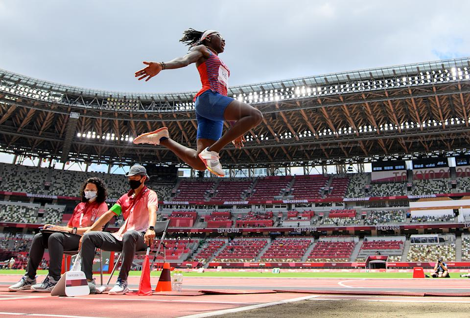 Long jumper Brittney Reese has been soaring past the competition for years, but because she competes in a field event, she hasn't received the same attention as track athletes. (Photo by Matthias Hangst/Getty Images)