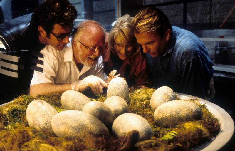Jeff Goldblum, Richard Attenborough, Laura Dern and Sam Neill watch dinosaur eggs hatch in a scene from the film 'Jurassic Park', 1993. (Photo by Universal/Getty Images)