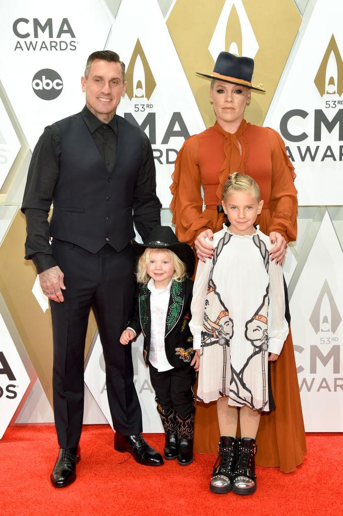 Carey Hart, Pink and their children, Jameson (left) and Willow (right). (Photo by John Shearer/WireImage,)