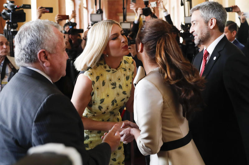 Ivanka Trump, President Donald Trump's daughter and White House adviser, greets first lady Silvana Lopez Moreira, at Presidential Palace in Asuncion, Paraguay, Friday, Sept. 6, 2019. Ivanka Trump is on her third stop of a South American trip to promote women's empowerment. Also pictured are U.S. Deputy Secretary of State John J. Sullivan, left, and Paraguay's President Mario Abdo Benitez, right.  (AP Photo/Jorge Saenz)