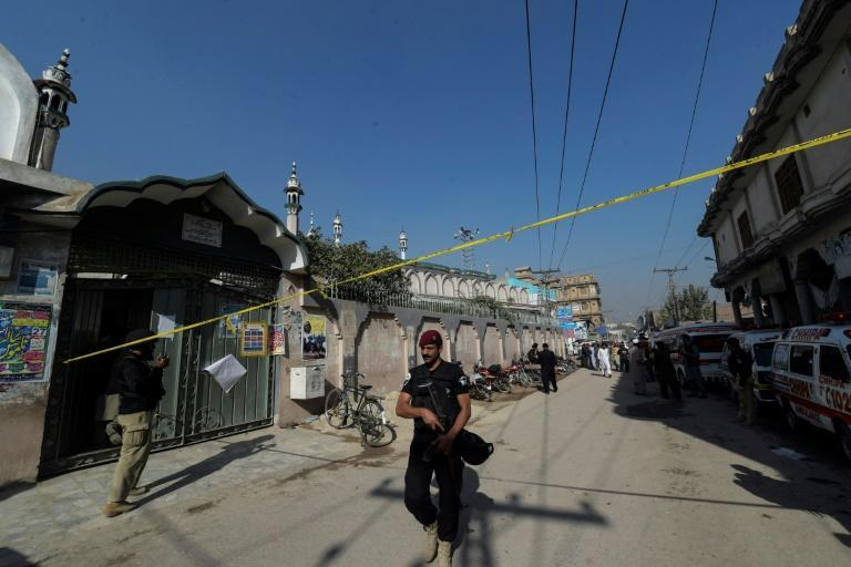 Security personnel secured the street after the blast