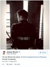 """Jeremy Renner in costume during a pause in shooting on May 21. """"On set. Behind the scene,"""" he tweeted. """"This set is amazing!"""""""