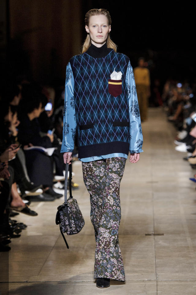 <p>A model walking in the Miu Miu Fall 2016 show wearing a blue and black argyle sweater, seen most often on our lovely grandmothers.</p><p><i>(Photo: ImaxTree)</i></p>