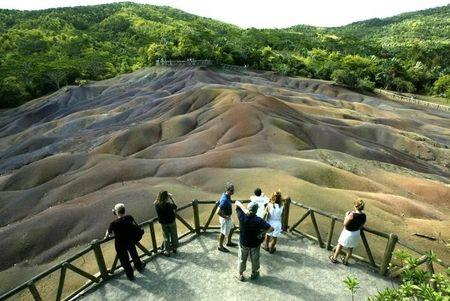 TOURISTS VISIT SEVEN-COLOURED EARTHS AT CHAMAREL.