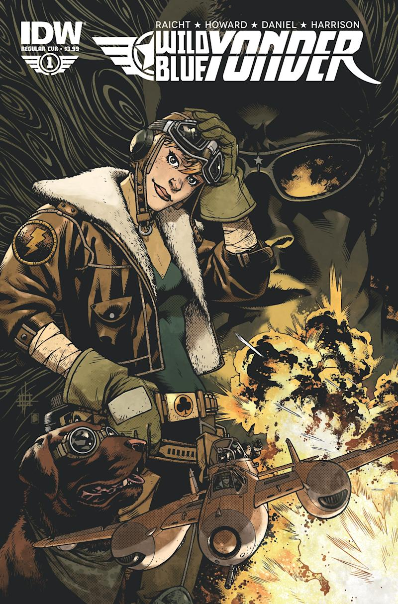 """This comic book cover released by Noble Transmission/IDW Publishing shows an image from the five-issue mini-series """"Wild Blue Yonder,"""" from Mike Raicht, Zach Howard and Austin Harrison of Noble Transmission.  The series centers on Cola, a skilled upstart, female teen pilot whose adventures form the tale set in a world where humanity lives among the clouds in floating airships while avoiding the broken, poisoned earth. Issue No. 1 was released on Wednesday, June 19. (AP Photo/Noble Transmission/IDW Publishing)"""