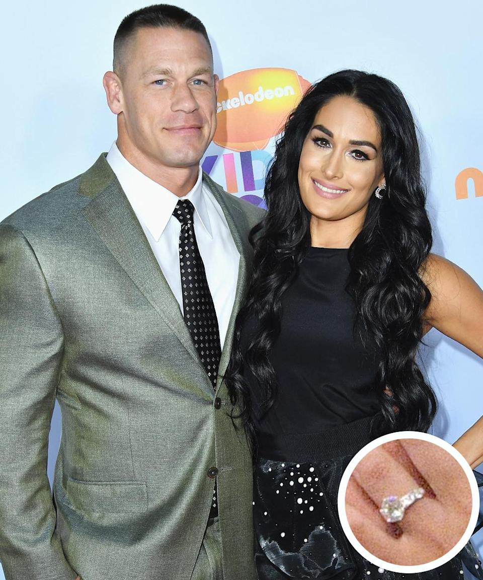 """<p>The Internet could not stop buzzing after wrestler-actor Cena <a rel=""""nofollow noopener"""" href=""""http://www.today.com/popculture/john-cena-pops-question-nikki-bella-wrestlemania-33-she-said-t109923"""" target=""""_blank"""" data-ylk=""""slk:proposed live"""" class=""""link rapid-noclick-resp"""">proposed <em>live</em></a> to fellow WWE star Bella at WrestleMania 33—and she accepted. Cena presented his love with a massive Tiffany & Co. diamond ring.</p>"""
