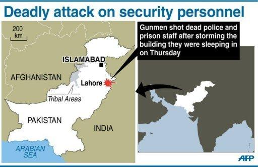 Graphic showing Lahore in Pakistan where gunmen on Thursday shot dead nine police prison staff after storming a building they were sleeping in
