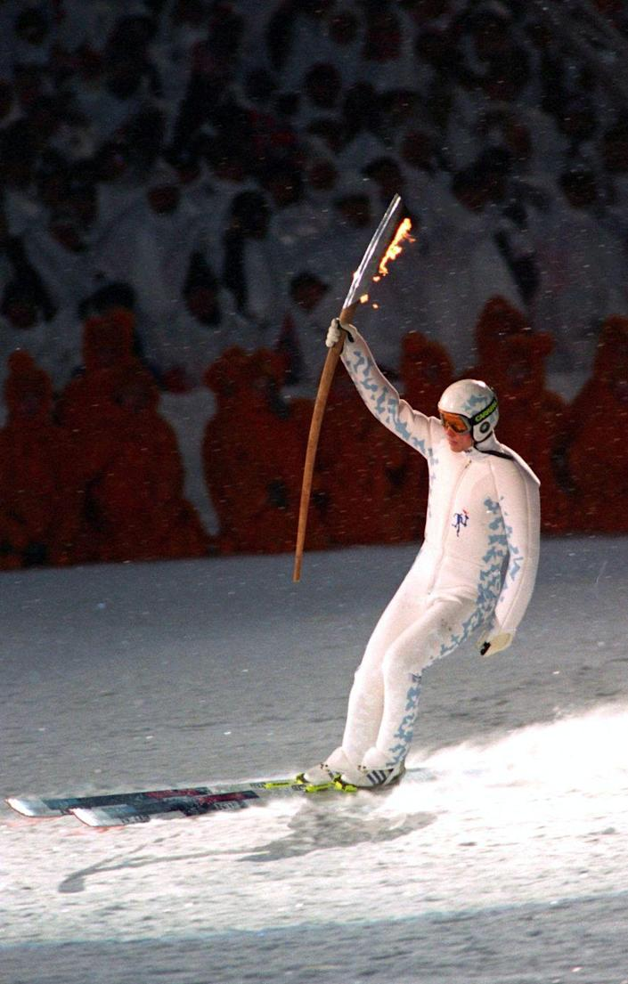 <p>Much attention was on Norwegian ski jumper and Olympic torch bearer Stein Gruben, who took an impressive jump on his way to lighting the cauldron during the opening ceremonies. </p>