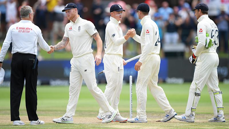 England players, pictured here shaking hands during a Test match.