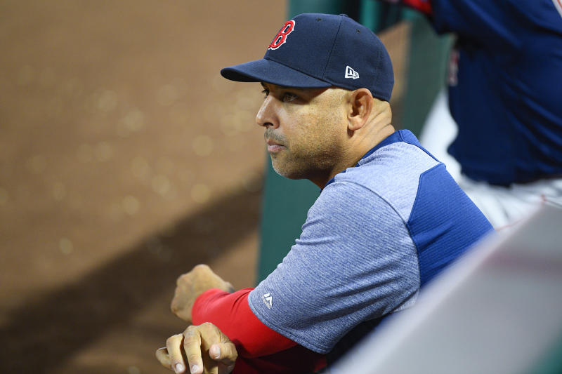 ANAHEIM, CA - AUGUST 30: Boston Red Sox manager Alex Cora looks on during a MLB game between the Boston Red Sox and the Los Angeles Angels of Anaheim on August 30, 2019 at Angel Stadium of Anaheim in Anaheim, CA. (Photo by Brian Rothmuller/Icon Sportswire via Getty Images)