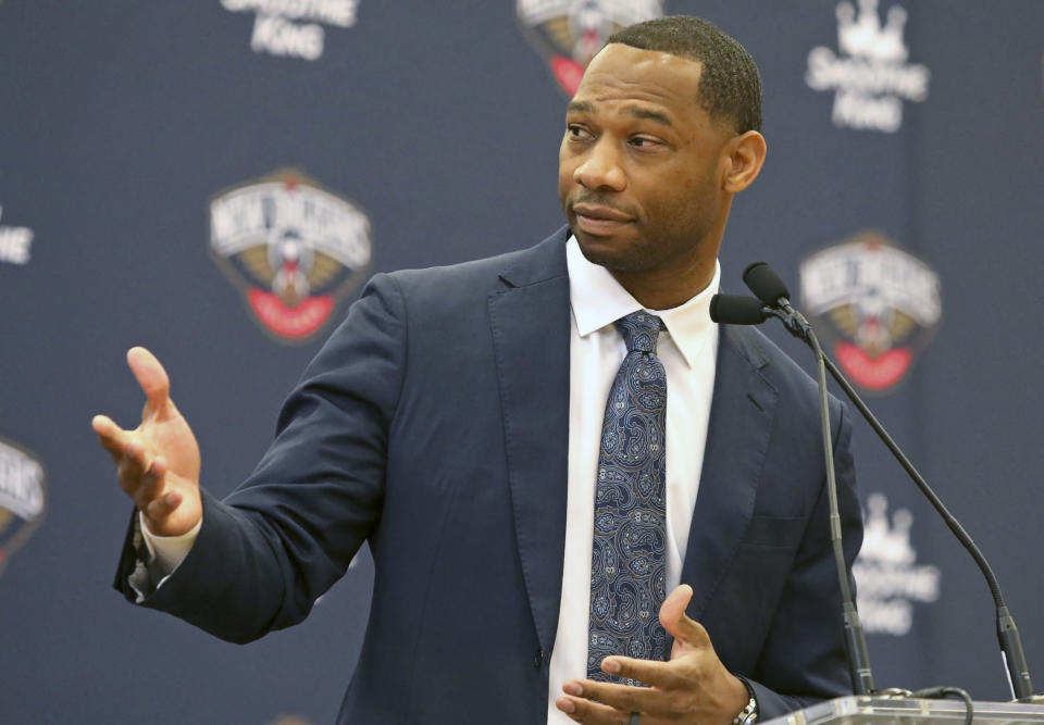 Willie Green speaks at a news conference where he was introduced as the new head coach for the New Orleans Pelicans NBA basketball team, in Metairie, La., Tuesday, July 27, 2021. (AP Photo/Ted Jackson)