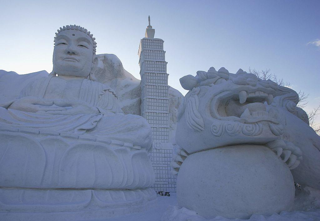 A 'Taiwan' snow sculpture is displayed at Odori Koen during the 57th Sapporo Snow Festival in 2006 in Sapporo, Hokkaido, Japan.