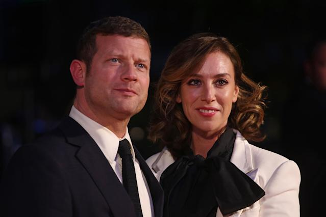 """Dermot O'Leary and Dee Koppang attend """"The Personal History Of David Copperfield"""" European Premiere & Opening Night Gala during the 63rd BFI London Film Festival at the Odeon Luxe Leicester Square on October 02, 2019 in London, England. (Photo by Lia Toby/Getty Images for BFI)"""