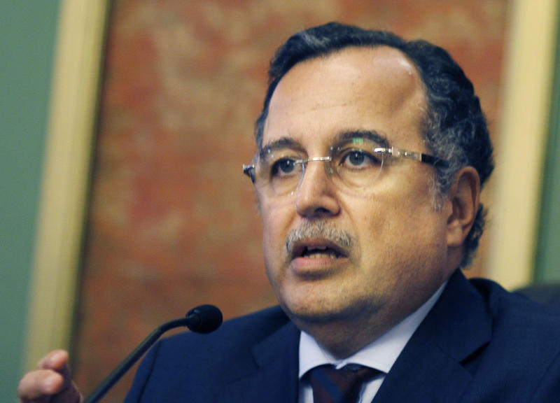 Egyptian foreign minister Nabil Fahmy speaks during a press conference, in Cairo, Egypt, Thursday, Nov. 14, 2013. Egypt's foreign minister said on Thursday that Russia was too important to be a substitute for the United States as Cairo's foreign ally and backer. (AP Photo/Amr Nabil)