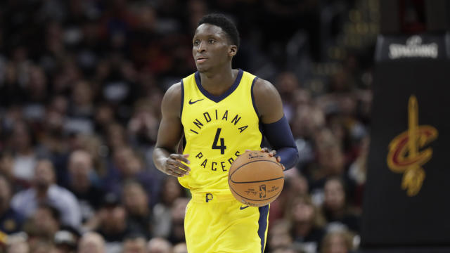 Indiana Pacers' Victor Oladipo drives against the Cleveland Cavaliers in the second half of Game 1 of an NBA basketball first-round playoff series, Sunday, April 15, 2018, in Cleveland. (AP Photo/Tony Dejak)