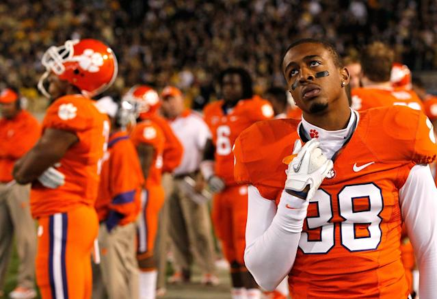 ATLANTA, GA - OCTOBER 29: Garry Peters #38 of the Clemson Tigers looks on from the sideline in the final minutes of their 31-17 loss to Georgia Tech Yellow Jackets at Bobby Dodd Stadium on October 29, 2011 in Atlanta, Georgia. (Photo by Kevin C. Cox/Getty Images)