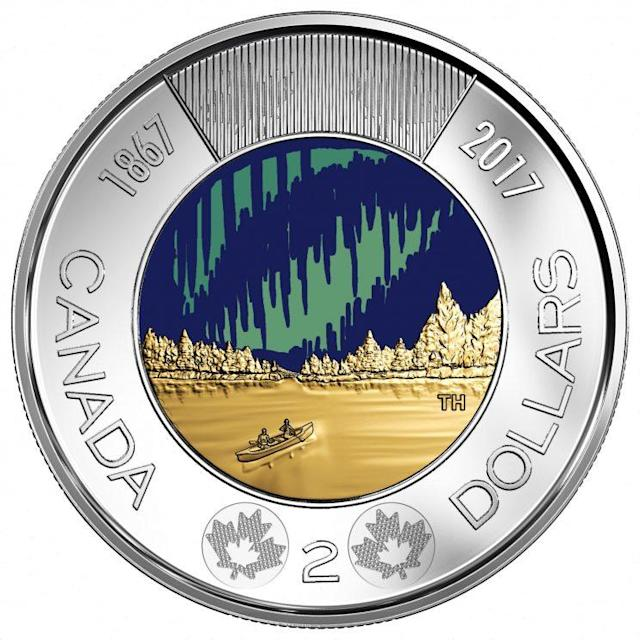 The new toonie designed for Canada 150 is seen here. (The Royal Canadian Mint)
