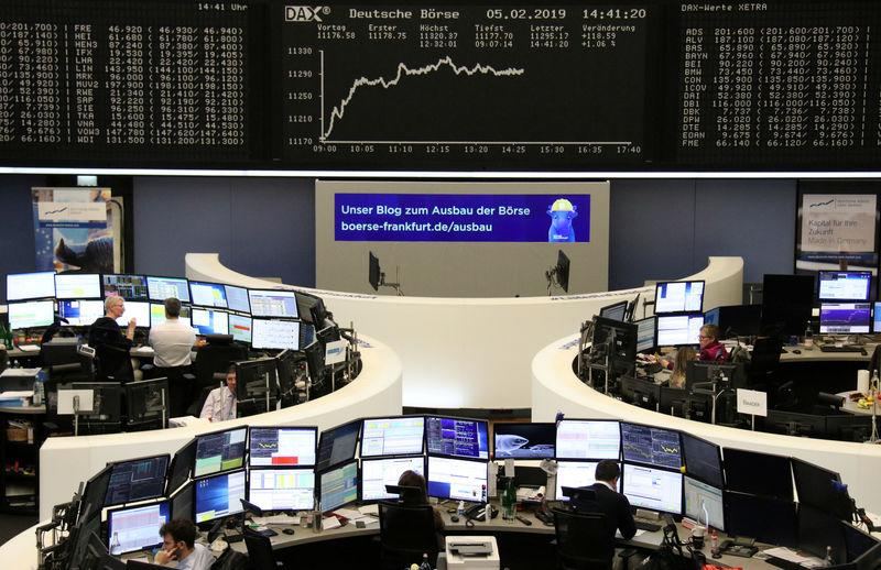 FILE PHOTO: The German share price index DAX graph is pictured at the stock exchange in Frankfurt, Germany, February 5, 2019. REUTERS/Staff