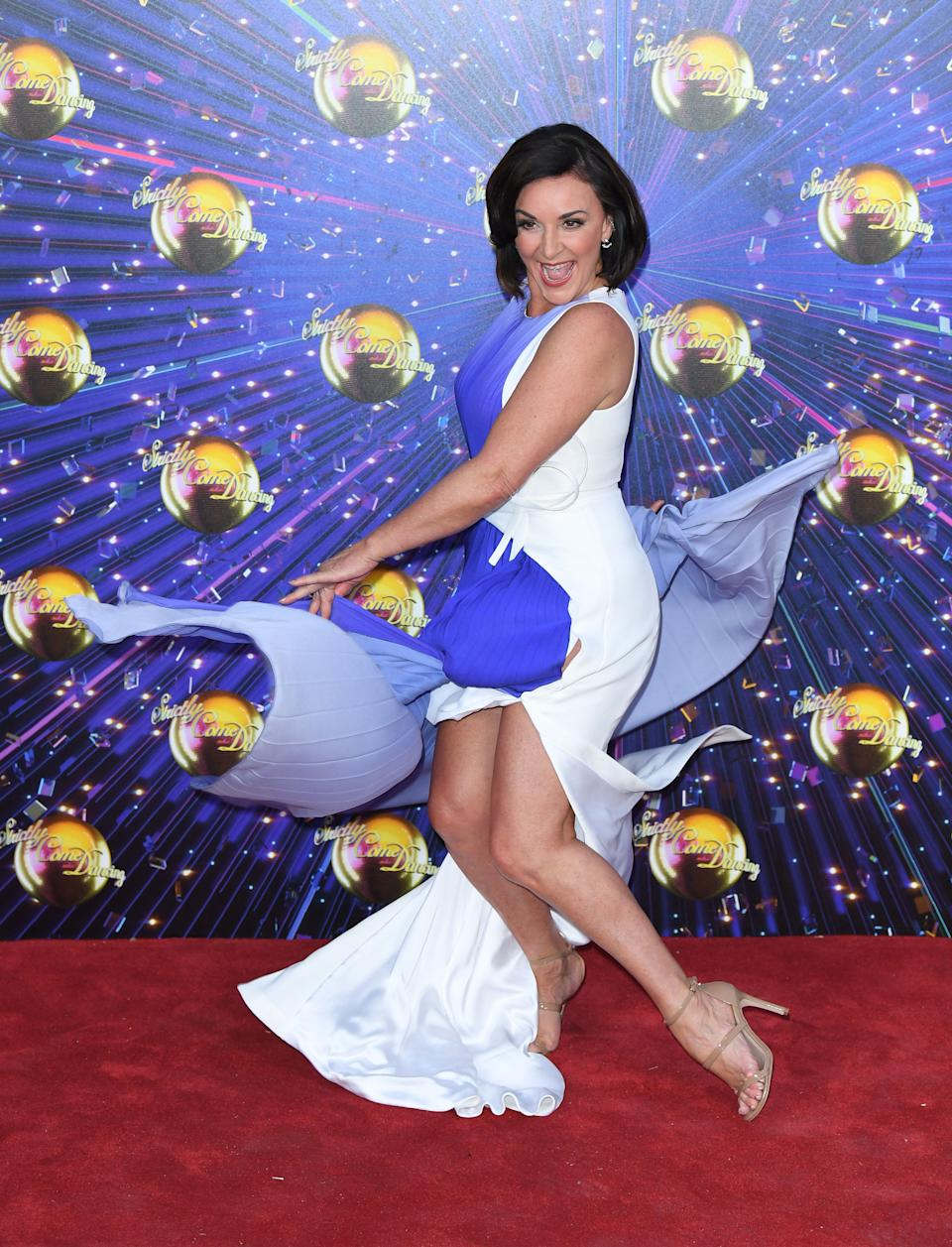 """LONDON, ENGLAND - AUGUST 26: Shirley Ballas attends the """"Strictly Come Dancing"""" launch show red carpet arrivals at Television Centre on August 26, 2019 in London, England. (Photo by Karwai Tang/WireImage)"""