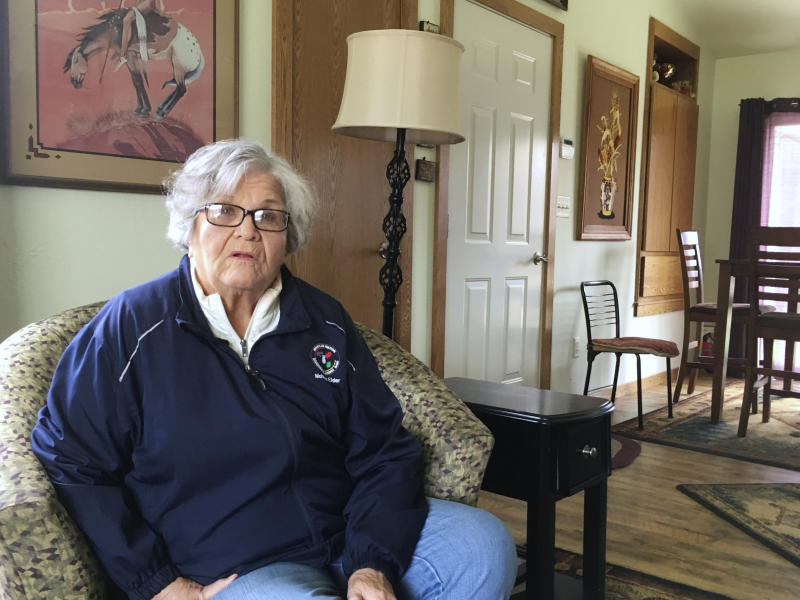 In this April 14, 2017 photo, Betty Putnam-Schiel, a Stockbridge-Munsee Band of Mohicans elder, talks in her home near Bowler, Wis. She fears that rival Ho-Chunk Nation's casino expansion plans could hurt business at her tribe's casino and force tribal leaders to stop sending youth to her home to do her chores. (AP Photo/Todd Richmond)