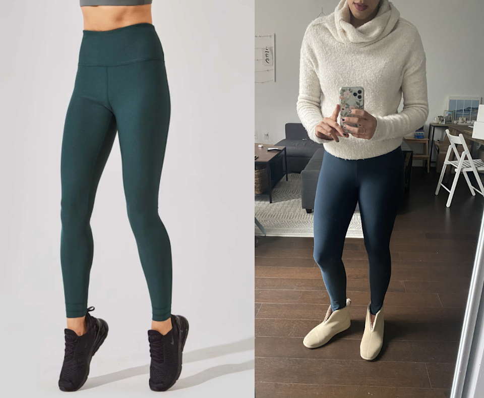 I paired my Swift High Waisted Recycled Polyester Leggings with a cozy turtleneck and my trusty Everlane slippers.