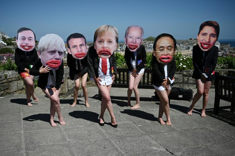 Climate campaigners protested that the G7's position on the crisis did not go far enough