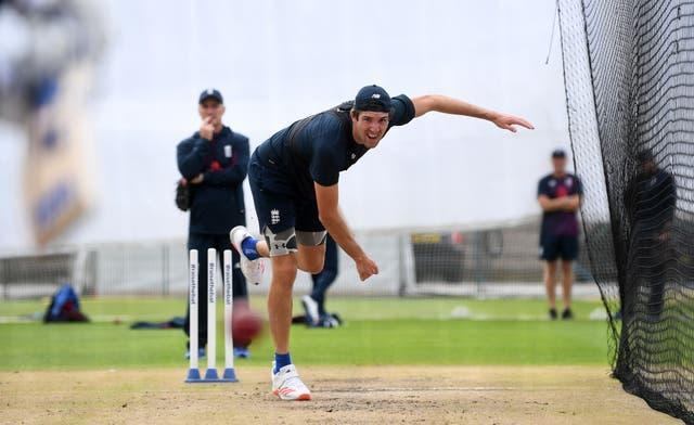 Craig Overton bowling in the nets