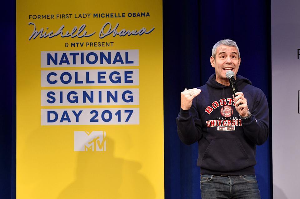 NEW YORK, NY - MAY 05:  Andy Cohen speaks onstage during MTV's 2017 College Signing Day With Michelle Obama at The Public Theater on May 5, 2017 in New York City.  (Photo by Bryan Bedder/Getty Images for MTV)