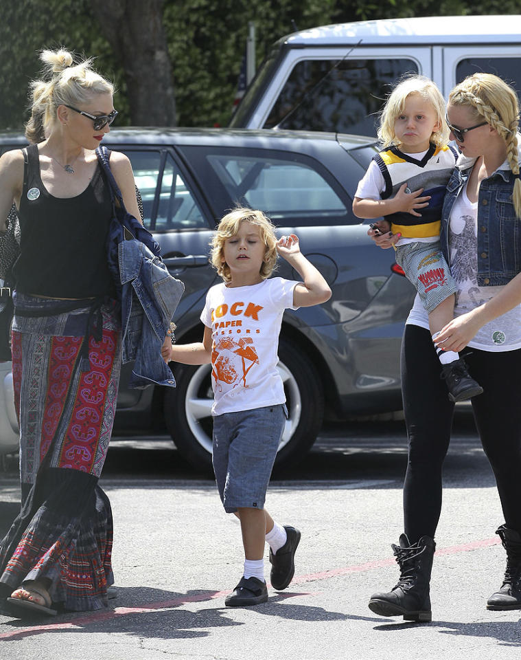 It was party time for Gwen Stefani's sons -- Kingston, 5, and Zuma, 3 -- who attended a friend's birthday festivities in Los Angeles. The singer has been back in the studio with her ska-punk band No Doubt working on an album that's due out in September. (5/6/2012)